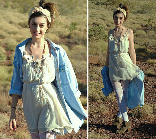 Pastel Desert - Turban, Weeken, Romantic dress, Weeken, White tights, Weeken, Dessert boots, Weeken, Rosary beads, Weeken, Autilia Antonucci, Australia