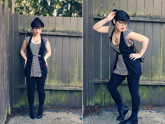 Gold's Fool - Bird Necklace, Weeken, Hat, H&M, Vest, Old Navy, Top, Old Navy, Socks, American Apparel, Shoes, Weeken, Amanda Ochoa, United States