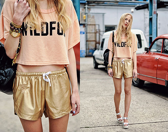 Wildfox Take 10 - Misbhv.com golden shorts, Weeken, Wildfox top, Weeken, Kurt Geiger sandals, Weeken, Guess watch, GUESS, Ooh Andy feather bracelet, Weeken, Alice Mary, United Kingdom