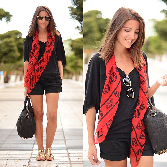 Day in Gran Canaria - Foulard, Weeken, Bag, Alexander Wang, Top, Weeken, Shorts, Weeken, Sandals, Weeken, Alexandra Per, Spain