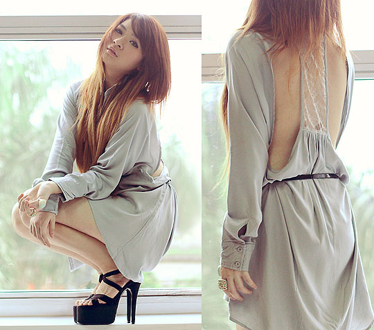 I got a secret - Cut out shirt dress, Weeken, High heels, Weeken, Anastasia Siantar, Indonesia
