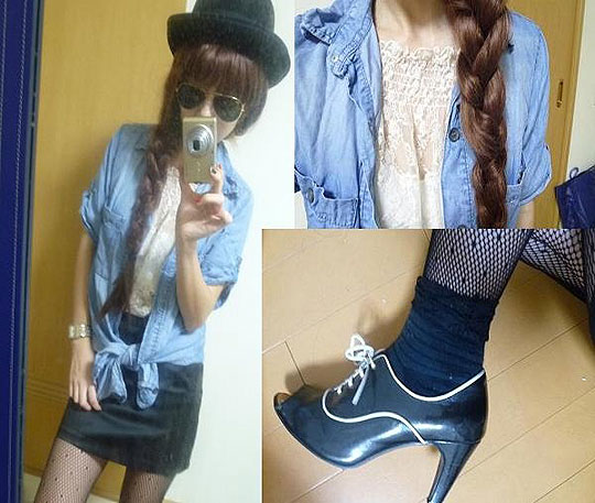 A pair of braid - Denim shirts, Zara, Sunglasses, Ray, Booty, Weeken, Asami Takata, Japan