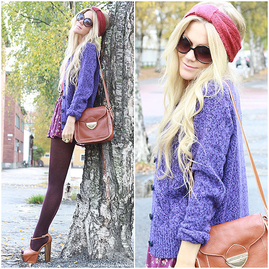 SO IF YOU WANNA BE MY BABY, THEN YOU GOTTA BE MY BABY - Purple cardigan, Gant, FLORAL SKIRT, Weeken, VINTAGE LOOKING BAG, Weeken, BOHEME RING, Weeken, HEAD BAND, Weeken, Anna Wiklund, Sweden