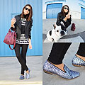 Fish eye & glitter loafers - Pants, Weeken, Sweater, Weeken, Bag, Weeken, Jacket, Mango, Alexandra Per, Spain