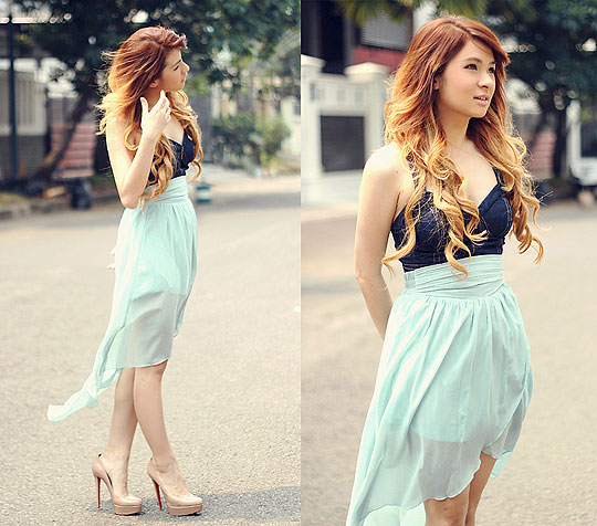 Mint - Vondra bralet, Weeken, Asymmetric waterfall skirt, Weeken, Bianca pumps, Weeken, Anastasia Siantar, Indonesia