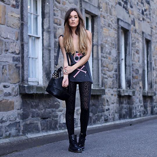 Zombie. - Tank top, Wildfox Couture, Bag, Weeken, Leggings, Weeken, Boots, Dr. Martens, Anouska Proetta Brandon, United Kingdom