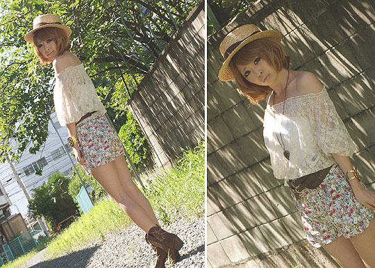 So sweet summer - Lace tops, Weeken, Flower shorty, Weeken, Asami Takata, Japan