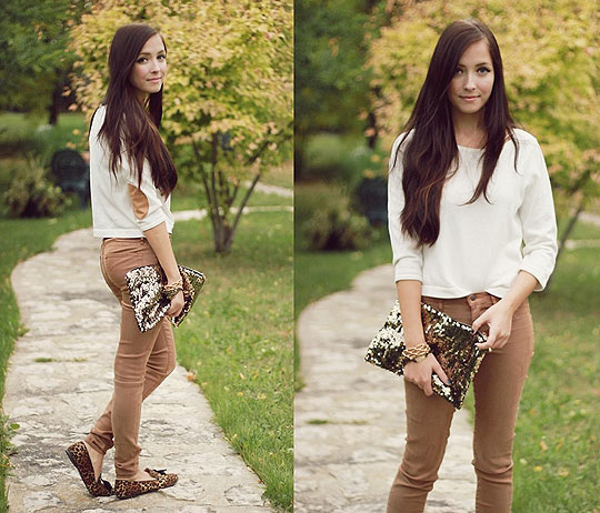 Peasant Song - Sequin bag, Weeken, Leopard loafers, Weeken, Brown jeggings, Weeken, Patch sweater, Forever21, Breanne S, Canada