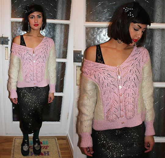 Glitter and Bows - Fluffy jumper, Weeken, Lace bra, Topshop, Velvet and gold glitter skirt, Topshop, Cassy Bhairo, United States