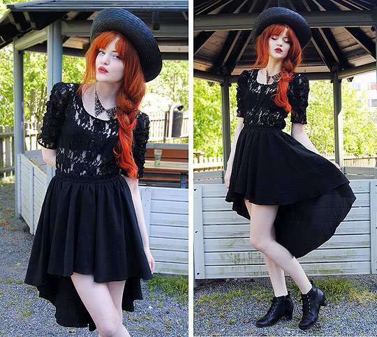 All the way Down - Black straw hat, Weeken, Collar necklace, Weeken, Lace blouse, Weeken, Black waterfall skirt, Weeken, All-day boots, Weeken, Cosette Munch, Sweden