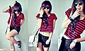 ! Red Summer Cat !, White satchel, Weeken, Stripes shirt, New Look, Shades, Weeken, Spikes bracelet, Weeken, Cross ring, Forever21, Studded sneakers, Weeken, Ripped denim, Weeken, Cindy Ashes, Singapore