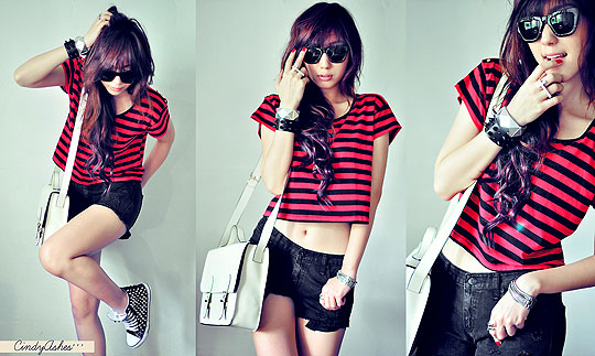 ! Red Summer Cat ! - White satchel, Weeken, Stripes shirt, New Look, Shades, Weeken, Spikes bracelet, Weeken, Cross ring, Forever21, Studded sneakers, Weeken, Ripped denim, Weeken, Cindy Ashes, Singapore