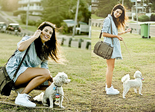 This is my dog, Bear. He enjoys long walks by the sea :) - Beige/ brown book bag, Weeken, Faded blue button up dress, Weeken, White sneakers, Weeken, Elle-May Leckenby, United States