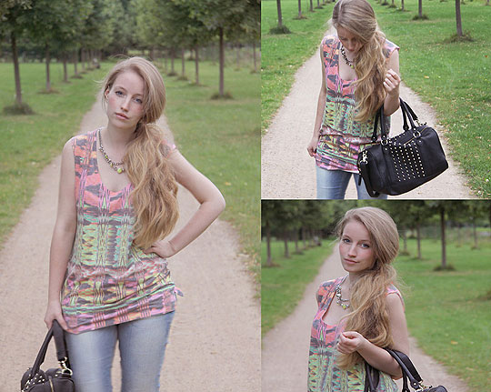 Colourful Simplicity - Neon coloured top, Zara, Studded bag, H&M, Yellow Necklace, H&M, Faustine Lara, Germany