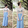PASTEL PALAZZO, Gold and Pearl Necklace, DIVA, Crochet Top, Weeken, Palazzo Pants, ASOS, Platform Sandals, Weeken, Izzy Bea, Australia