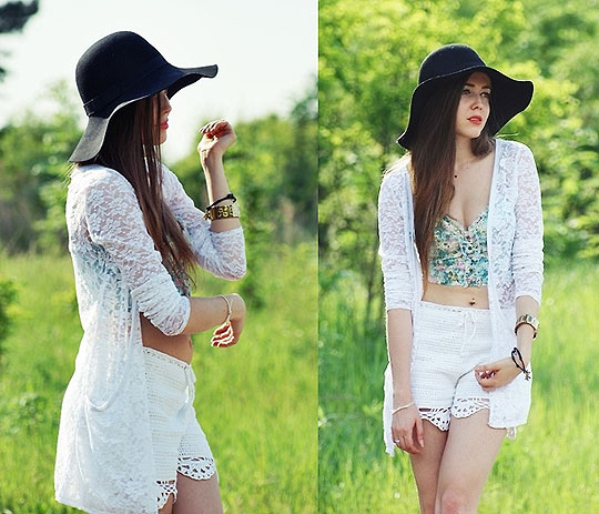 Green tea - Hat, H&M, Crochet shorts, Diy, Corset, Zara, Watch, GUESS, Kasia Gorol, Poland