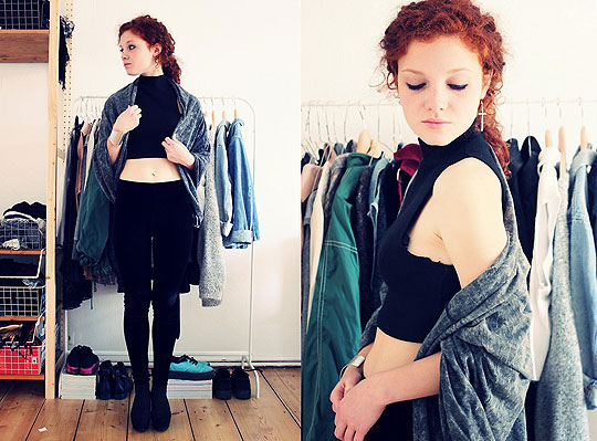 Shell of light - Scarf as jacket, American Apparel, Top, Weeken, Velvet leggins, Weeken, Wedges, Weeken, Lina S, Germany