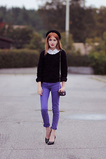 PURPLE NIGHT - Purple jeans, Cheap Monday, Hat, Weeken, Shirt, Weeken, Sweater, Weeken, Mini-bag, Weeken, Linnea Jacobson, Korea