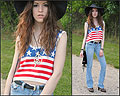 Peace, Love, and America - American flag patriotic crop top, Weeken, Denim flares, Weeken, Floppy black hat, Xoxo, Studded clogs, Weeken, Fringe bag, Diy, Lauren Schoonover, United States