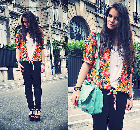 Salade de Fruits - Pants, Cheap Monday, Hawaiian shirt, Weeken, Mint bag, Weeken, Wedges, Zara, Marie M, France