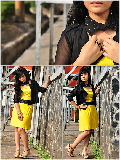 Blink Collar - Blink Collar, Weeken, Black Jacket, Weeken, Yellow Dress, Zara, Mila Anisa, Indonesia