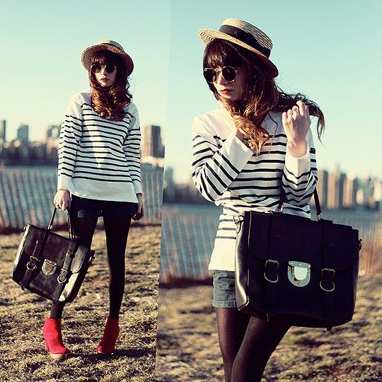 WILL OF THE RIVER. - Straw hat, H&M, Striped shirt, Weeken, Leather bag, Weeken, Red boots, Weeken, Rachel-Marie I, United States