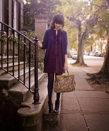 Near The Battery in Charleston ... - Cardigan, H&M, Tapestry bag, Weeken, Boots, Weeken, Dress, Rhiannon Leifheit, United States