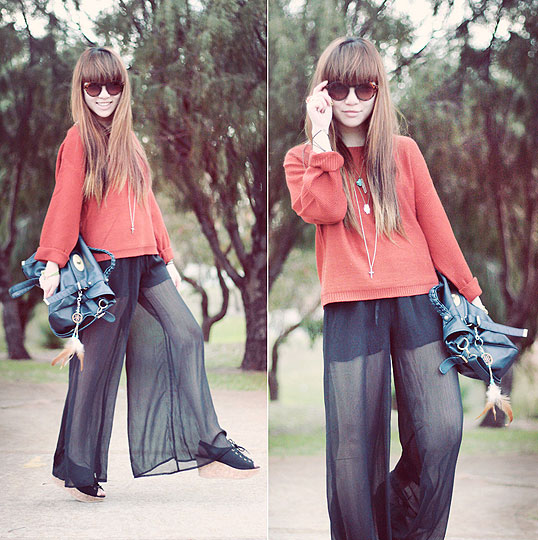Sheer - Romwe Sheer Palazzo Pants, Weeken, Round Sunglasses, Mango, Brick-red oversized knit jumper, Weeken, Canvas wedges, Weeken, Willabelle Ong, Australia