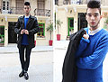 Blue and Cozy - Electric blue sweater, Zara, White shirt, Topman, Black jeans, Weeken, Black tracktered shoes, Zara, Black trench coat, Weeken, Billy Hazel, Greece