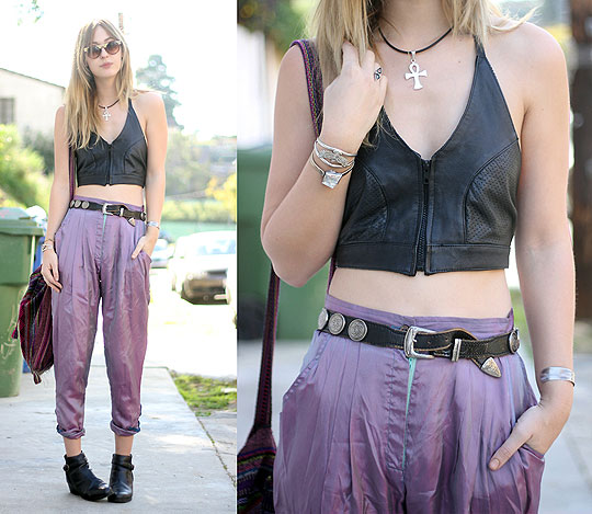 PURPLE SUNDAY / disarming darling - Leather bustier, Weeken, Ankh necklace, Weeken, Belt, Weeken, Pants cut into shorts, Weeken, Shoes, Weeken, BRIT N
