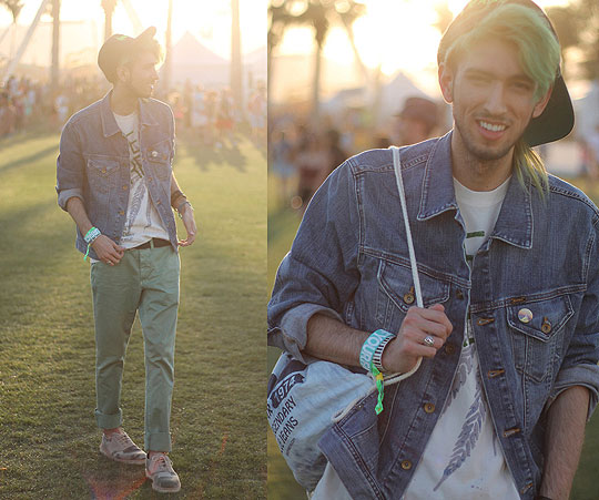 Sunset in Coachella: Day 1 - Classic denim jacket, Weeken, Jade Chinos, Weeken, Ibiza wristband, Weeken, Custom Coachella bag, Weeken, Camo shoes, Dr. Martens, Bobby Raffin, Canada