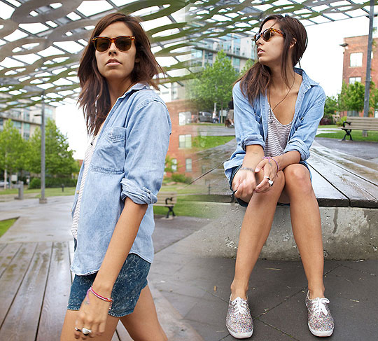 D. ENIM - Denim shirt, Weeken, Striped tank, American Apparel, Acid wash shorts, American Apparel, Diy glitter shoes, Keds, Crystal Yeoms, Canada