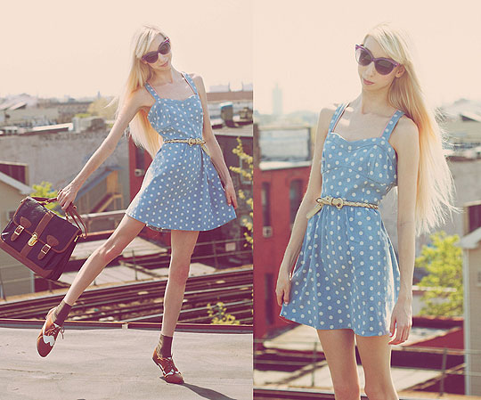 Denim dress! - Denim polkadot skater dress, Weeken, White braided belt, American Apparel, Vintage leather satchel, Weeken, Brown and white saddle shoes, Weeken, Elle Ribera, United States