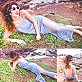 B e a c h s i d e b l u e s, Ice blue drop back maxi, Weeken, Round pearl drop sunnies, Weeken, Elle-May Leckenby, United States