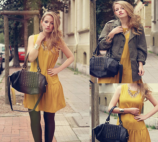 Yellow Dress - Yellow Dress, Weeken, Spikes Necklace, H&M, Golden Bracelet, H&M, Studded Bag, H&M, Green Parka, Weeken, Pants, Vero Moda, Faustine Lara, Germany