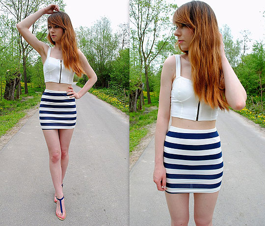 Striped skirt - Top, Bershka, Skirt, Bershka, Sandals, Weeken, Hannnah P, Poland
