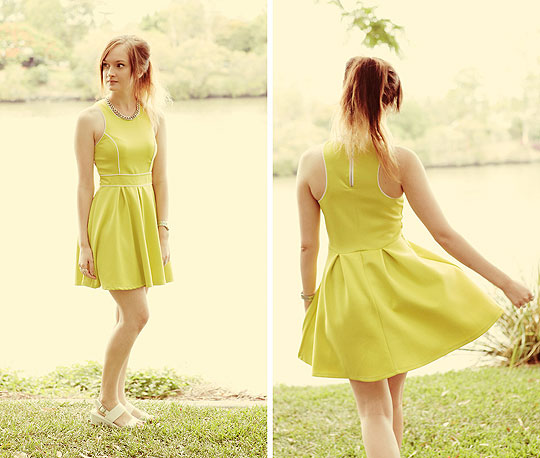 TWIST OF LIME - Lime Dress with Piping Detail, Weeken, White Leather Flatforms, Weeken, Izzy Bea, Australia