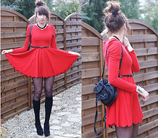 Red dress again - Dress, Weeken, Legwear, Weeken, Heels-wedges, Weeken, Joanna SERWUS, Poland