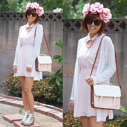 PASTEL PINK SUMMER - BUTTON UP DRESS, Weeken, FLORAL HEADBAND, Weeken, TOTE SHOULDER BAG, Weeken, Joanne Kim, United States