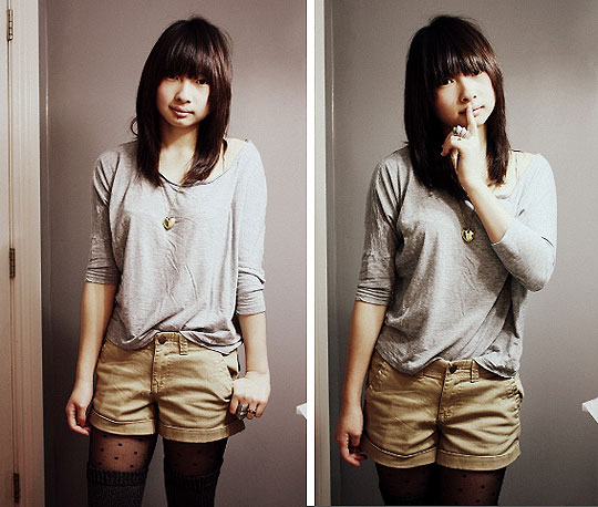 Rebel Rebel & New Hair-do - Dark grey tights, Weeken, Oversized shirt, Forever21, Gold heart necklace, Gift, Armour ring, Weeken, Tan shorts, Forever21, Crown ring, Weeken, Poke-a-dot tights, H&M, Kar-Yan C, Canada