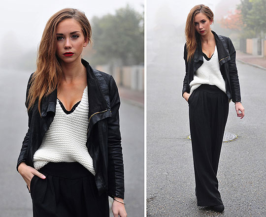 Foggy afternoon - Knitted sweater, Zara, Glittering bustier, Weeken, Jacket, Weeken, Wide pants, Weeken, Lisa Olsson, Sweden