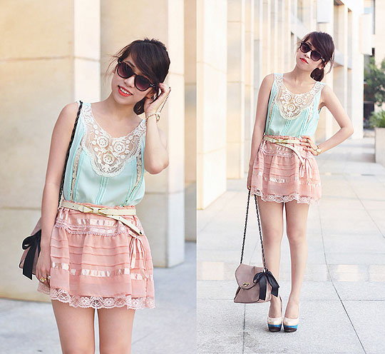 Summery pastel lace romance (c/o Sugarlips) - Lace top, Weeken, Skirt, H&M, Heels-wedges, Weeken, Linda Tran, Vietnam