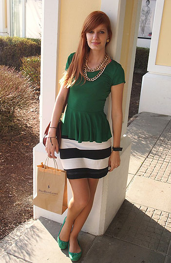 Green peplum - Peplum top, H&M, Skirt, H&M, Mirka Germanova, Slovakia