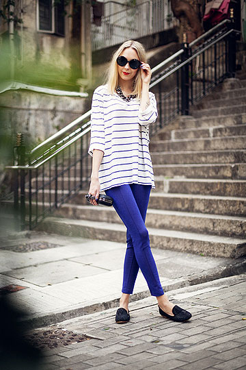 Na Na Na - Blue glitter pants, H&M, Striped tshirt, Weeken, Martina M, Finland