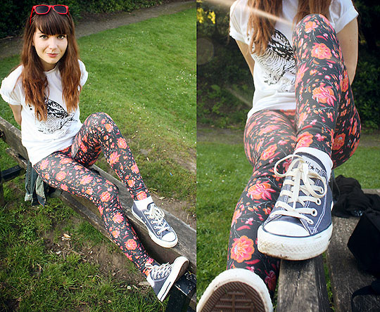 Get Sick Soon - Sunglasses, Weeken, Hello Saferide T, Weeken, Floral patterened leggings, Topshop, Trainers, Converse, Mimi Sinnott, United Kingdom