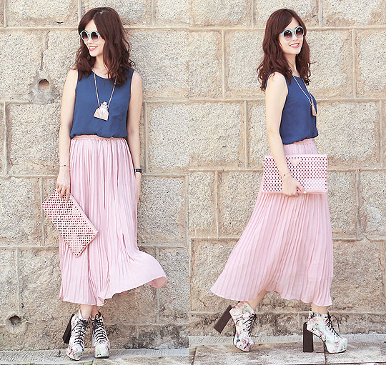 Catty & maxi - Candy sunnies, Weeken, Navy tank top, Weeken, Pink maxi, Weeken, Floral booties, Weeken, Catty man necklace, Weeken, Mayo Wo, Hong Kong