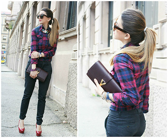 Plaid print - Sheinside, Weeken, Zara, Zara, Ysl, Yves Saint Laurent, Bakers shoes, Weeken, Nicoletta Reggio, Italy