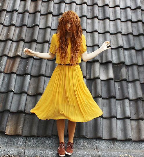 Yellow yearning - Dress, Weeken, Tights, H&M, Belt, Weeken, Nadia Esra, Netherlands