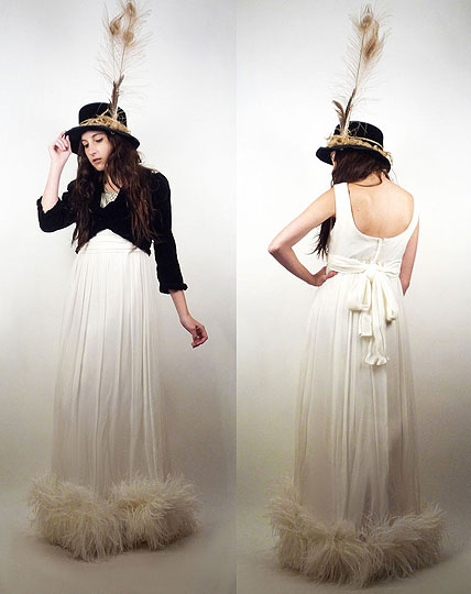 LIGHT as a FEATHER - Vintage 60s White Maxi Dress With Ostrich Feather Hemline, Weeken, Vintage Hat With Blonde Peacock Feathers & Jute, Weeken, Vintage Black Velvet Crop Jacket, Weeken, Rachel Hunt, United Kingdom