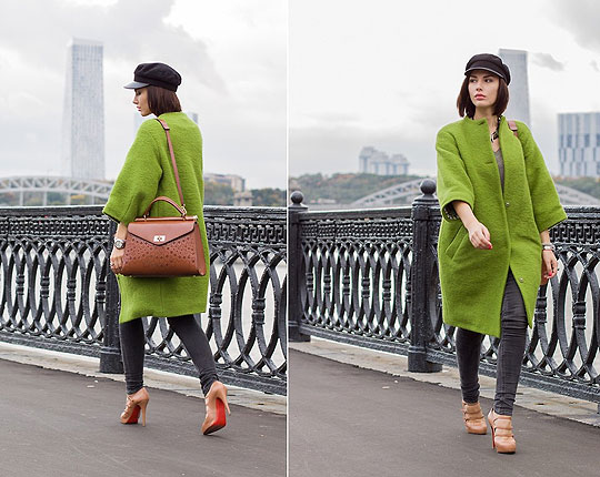 Green coat - Coat, Weeken, Shoes, Weeken, Bag, Weeken, Jeans, LEE, Rita Galkina, Russia